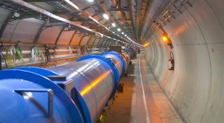 The world's largest atom smasher, the Large Hadron Collider, forms a 17-mile-long (27 kilometers) ring under the French-Swiss border.