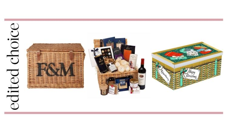 Best Christmas hampers graphic – with Fortnum and mason basket, House of Bauer hamper and Biscuiteers hamper tin