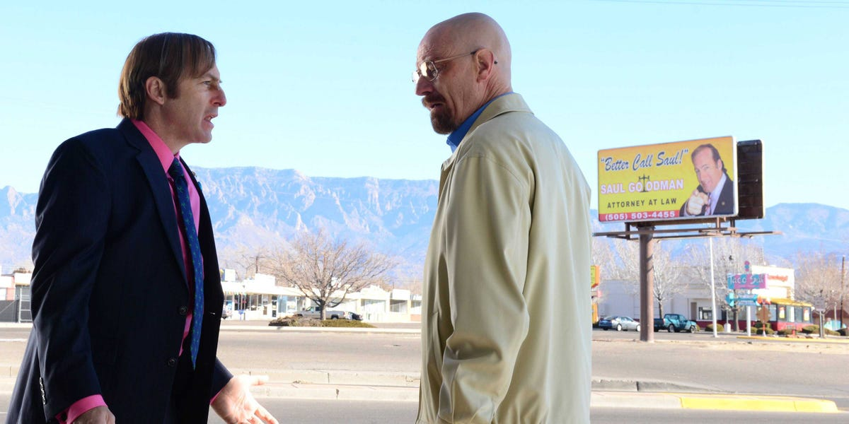 Bob Odenkirk as Saul Goodman and Bryan Cranston as Walter White in Breaking Bad.