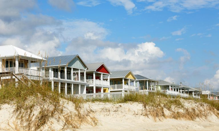 Beach houses on Kure Beach, near Wilmington, North Carolina