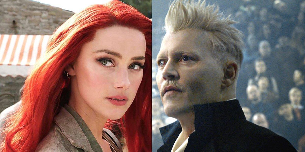 Amber Heard as Mera in Aquaman Johnny Depp as Grindelwald Fantastic Beasts 2 Warner Bros.