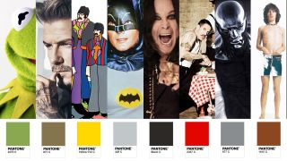 celebrities next to Pantone colours