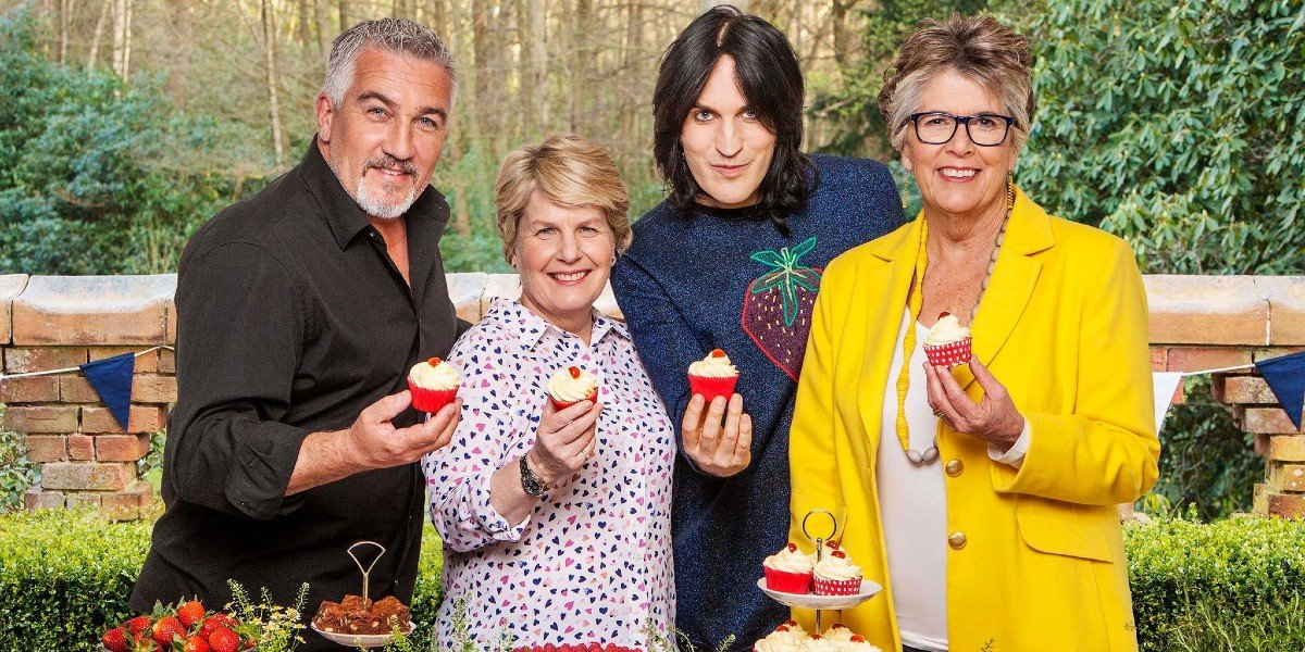 The Great British Baking Show with Paul Hollywood, Noah Fielding, Sandi Toksvig, and Prue Leith