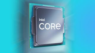 Intel Rocket Lake CPU render with blurred CPU behind and blue background