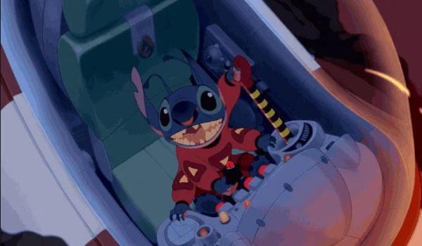 Stitch in a spaceship