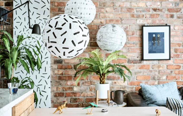 Ikea hack: printed white lanterns