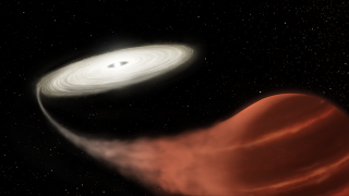 An illustration showing the newly discovered dwarf nova system, a finding detailed in the October 2019 issue of the journal Monthly Notices of the Royal Astronomical Society.
