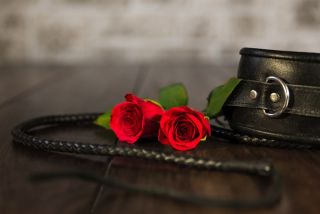 leather whip, cuffs and red roses.