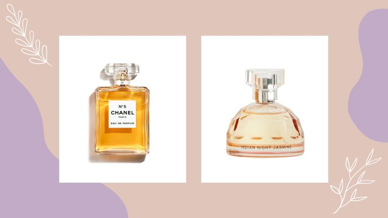 chanel no 5 perfume next to chanel no 5 dupe the body shop Indian Night Jasmine Eau de Toilette on a beige background with floral illustrations and lilac patches