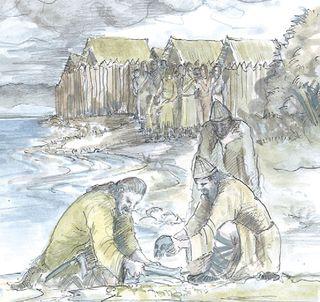 lake dwellers burying skulls