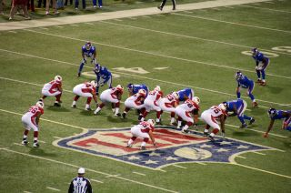 The Arizona Cardinals play the New York Giants in Giants Stadium in East Rutherford, New Jersey.
