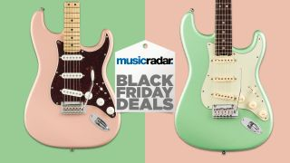These killer Fender Player Stratocasters in Surf Green or Shell Pink are just $599 for Black Friday