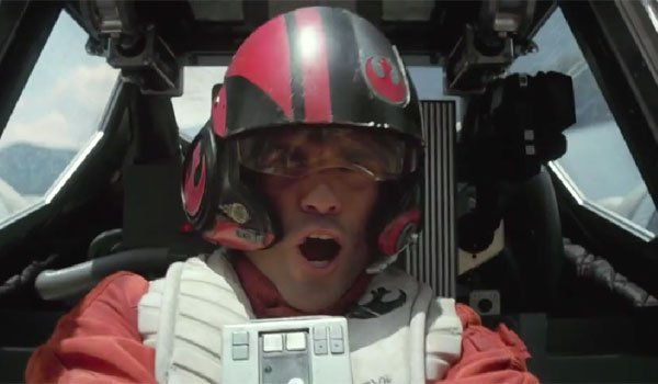 Poe Dameron flying the force awakens