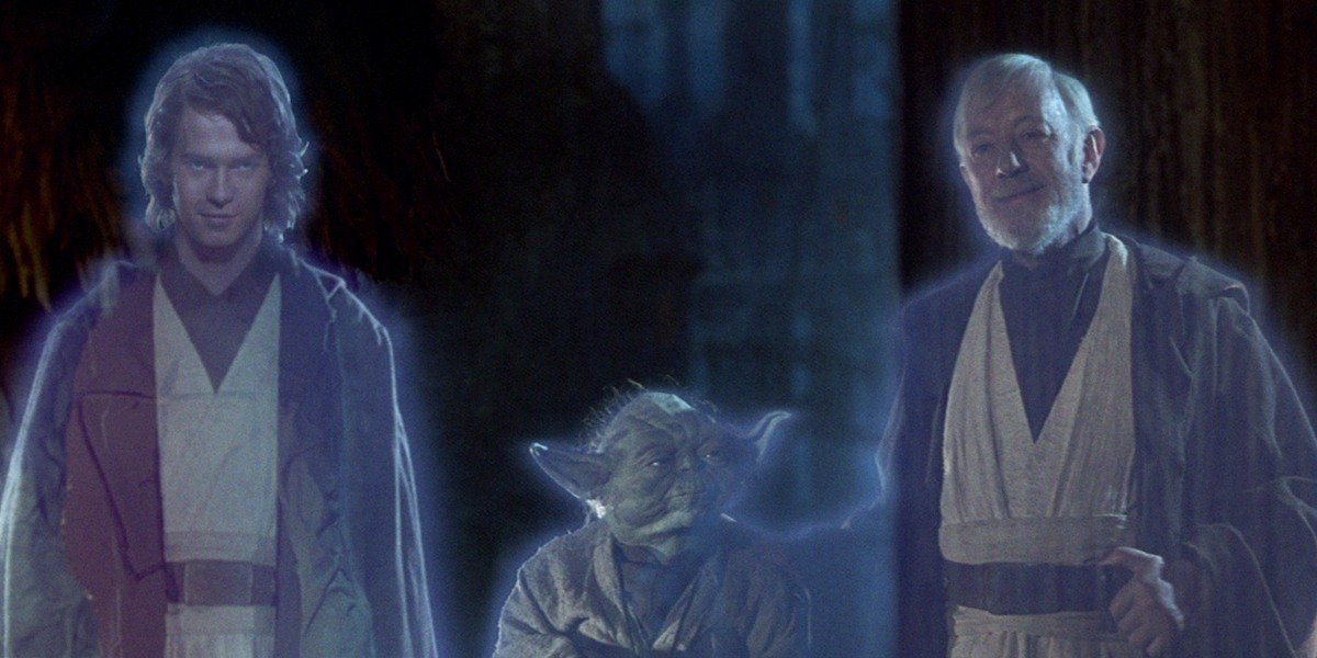 "Hayden Christensen as Anakin Skywalker, Yoda and Alec Guinness as Obi-Wan ""Ben"" Kenobi in Star Wars: Return of the Jedi (1983)"