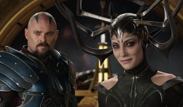 Skurge and Hela in Thor: Ragnarok