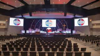 To better accommodate the house of worship's shift to contemporary praise, CCI Solutions designed a new system for The Grove Community Church in Riverside, CA based on L-Acoustics Kara(i) loudspeakers.