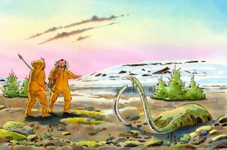 An illustration of the ice age landscape that early Native Americans would have encountered.