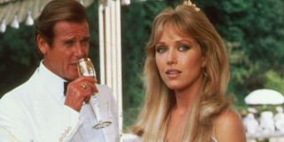 A View To A Kill Roger Moore has champagne with Tanya Roberts