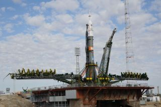 A Russian Soyuz rocket stands poised atop its launchpad at Baikonur Cosmodrome, Kazakhstan ahead of the Sept. 2 launch of a new three-man crew to the International Space Station. The rocket will launch Russian cosmonaut Sergei Volkov, Danish astronaut And