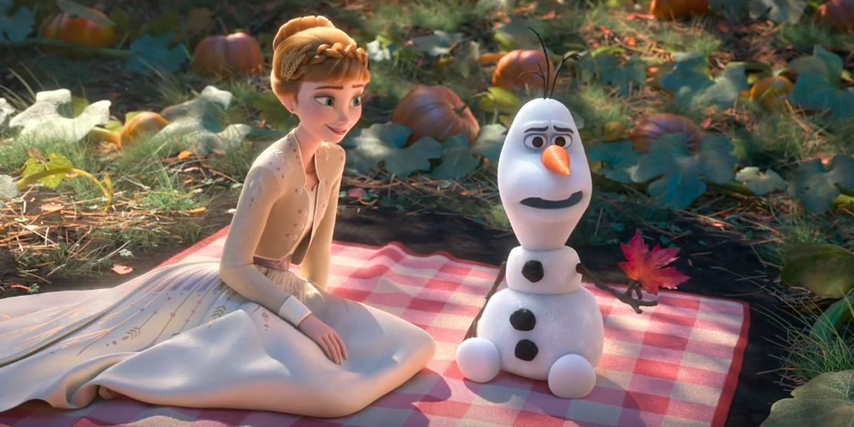 Olaf and Anna in Frozen II