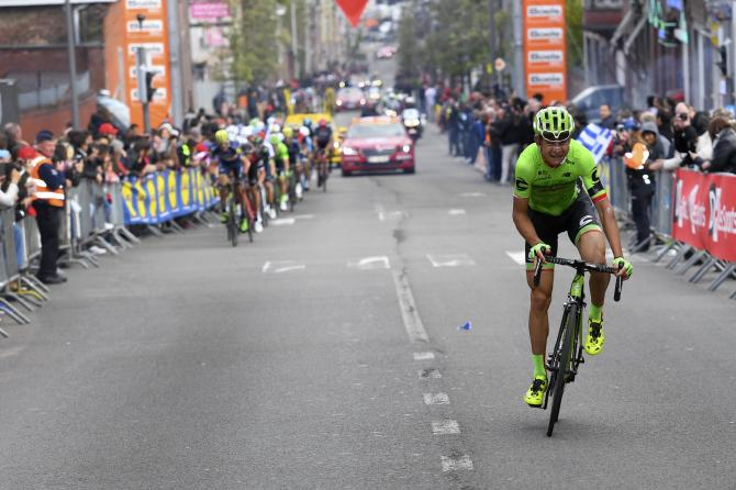 Davide Formolo (Cannondale-Drapac) desperately tries to hold off the chase