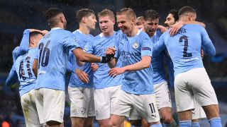 Manchester City vs Chelsea 2021 - Man City celebrate their second goal against PSG in the UEFA Champions League.