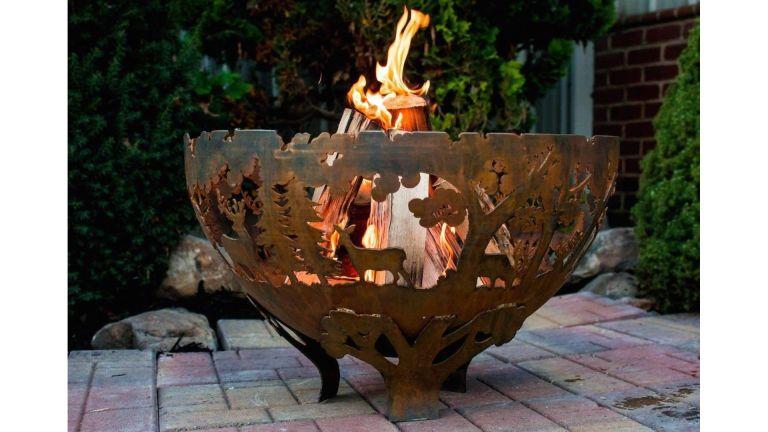 Peaktop Outdoor Garden Patio Round Bowl vs Fallen Fruits Oxidised Rust Effect Woodland Fire Pit