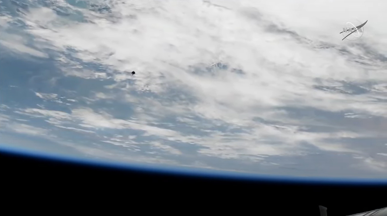 The Soyuz MS-19 spacecraft carrying Russian actress Yulia Peresild, producer-director Klim Shipenko and cosmonaut Anton Shklaperov approaches the International Space Station on Oct. 5, 2021 in this still from station cameras captured during docking operations.