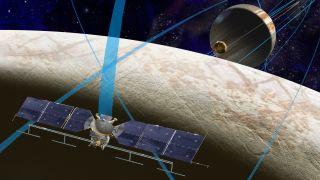 An artist's depiction of the Europa Clipper spacecraft at work around Jupiter's moon.