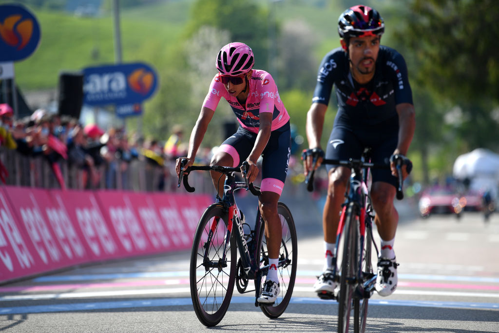 SEGA DI ALA ITALY MAY 26 Egan Arley Bernal Gomez of Colombia and Team INEOS Grenadiers Pink Leader Jersey at arrival during the 104th Giro dItalia 2021 Stage 17 a 193km stage from Canazei to Sega di Ala 1246m UCIworldtour girodiitalia Giro on May 26 2021 in Sega di Ala Italy Photo by Stuart FranklinGetty Images