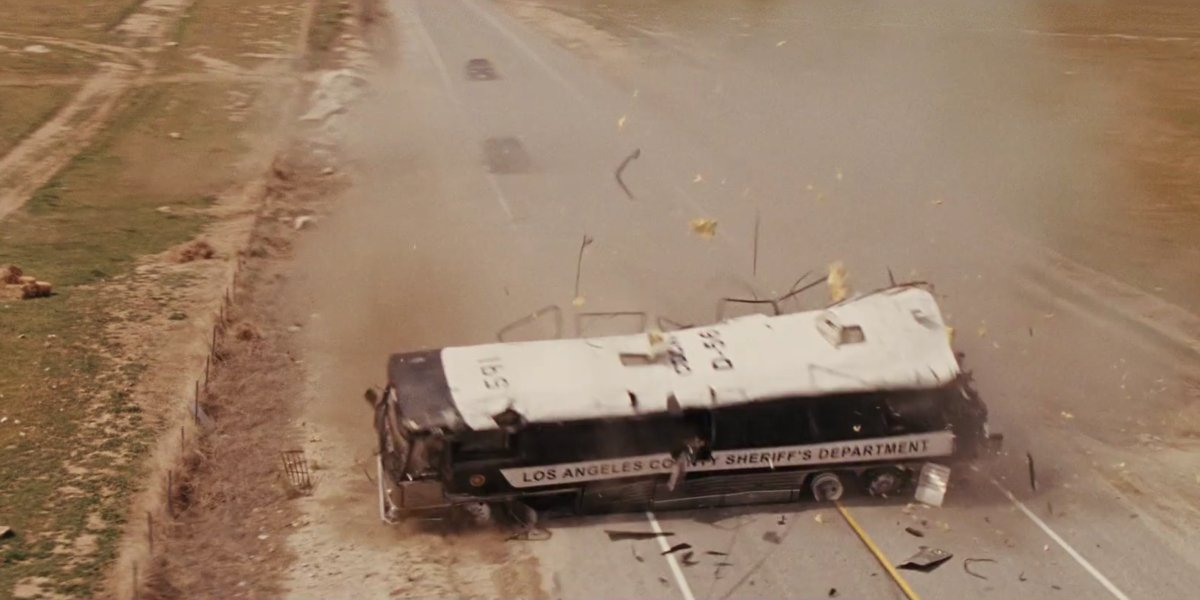 The wrecked prison bus in Fast Five