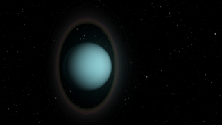 One Artist's impression of Uranus and his rings, which are remarkably dark but surprisingly warm.