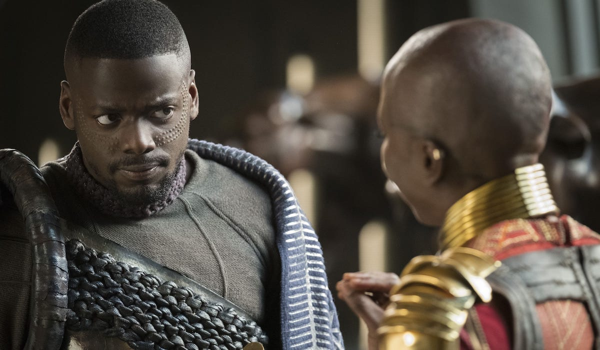 Daniel Kaluuya as W'Kabi in Black Panther with Okoye