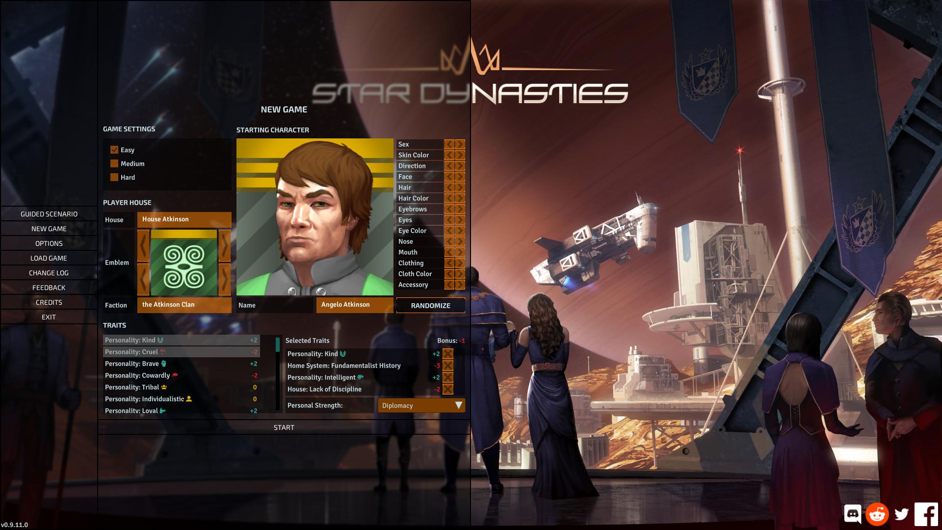 Star Dynasties character creation screen