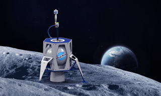 This artist's impression of the Blue Moon Brewing Co. keg was inspired by the Blue Origin lander of the same name.