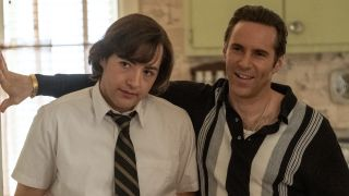 MICHAEL GANDOLFINI as Teenage Tony Soprano and ALESSANDRO NIVOLA as Dickie Moltisanti in The Many Saints of Newark