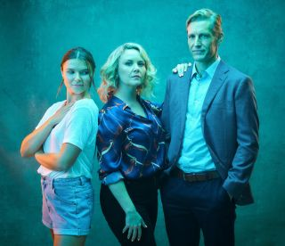 Lie With Me cast: Phoebe Roberts, Charlie Brooks and Brett Tucker.