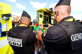 LIBOURNE FRANCE JULY 16 Mark Cavendish of The United Kingdom and Team Deceuninck QuickStep Green Points Jersey Gendarmerie takes a photo during the 108th Tour de France 2021 Stage 19 a 207km stage from Mourenx to Libourne Selfie LeTour TDF2021 on July 16 2021 in Libourne France Photo by Tim de WaeleGetty Images