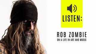 A PORTRAIT OF ROB ZOMBIE LOOKING AT THE CAMERA