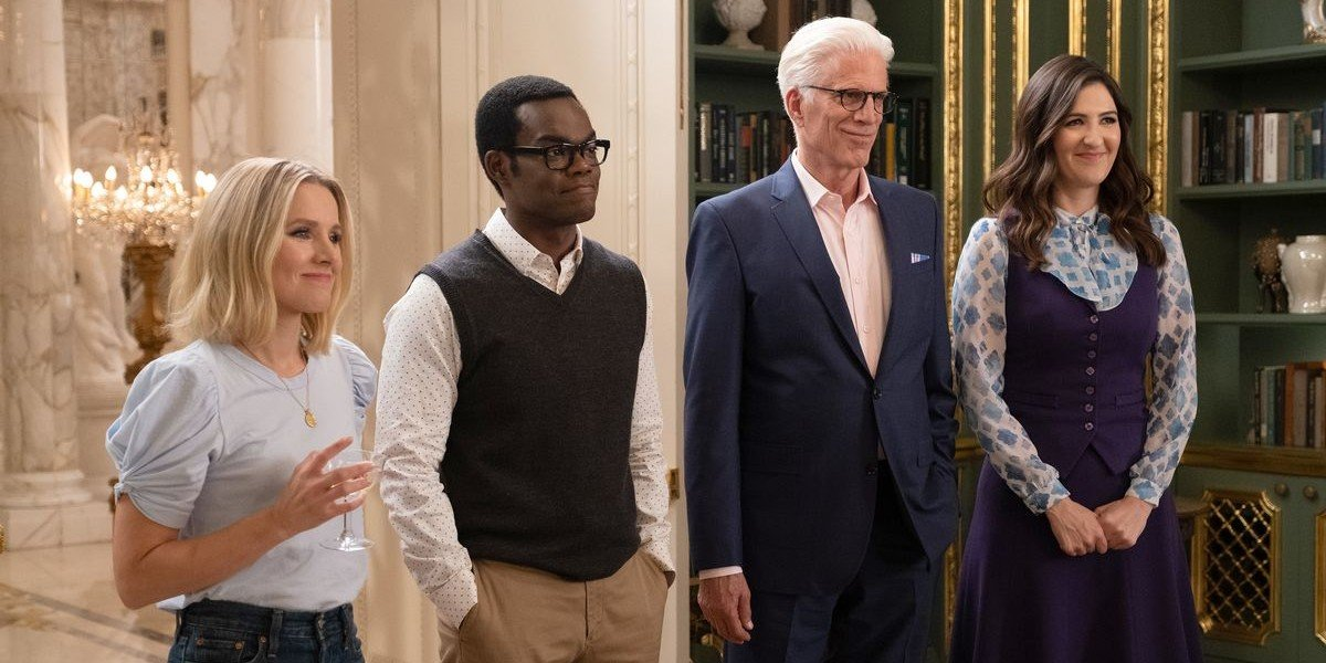 Kristen Bell, Ted Danson, D'Arcy Carden, and William Jackson Harper in The Good Place