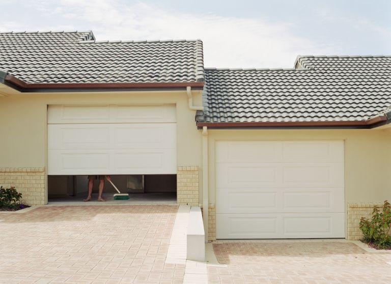 White painted garage doors