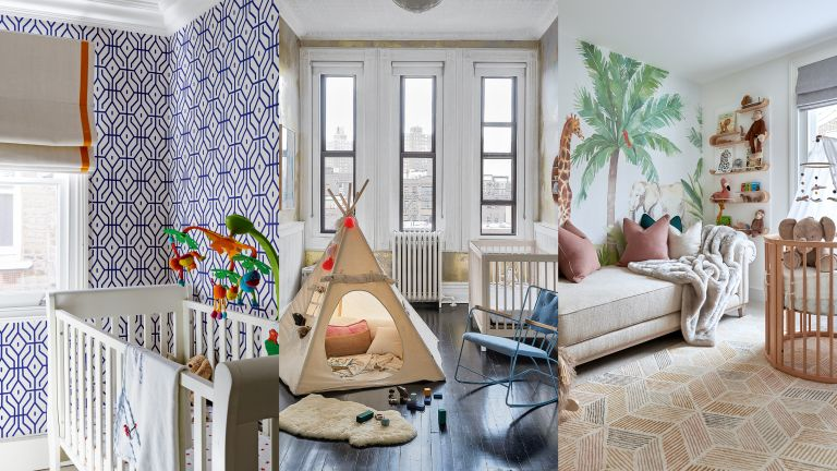A composite of baby boy nursery ideas, featuring blue patterned wallpaper, a teepee and a mural.