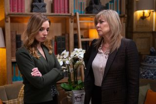 Andrea is unnnerved when Kim Tate bribes her to move away from the village in Emmerdale