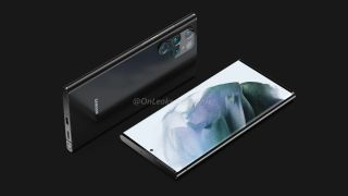 Samsung Galaxy S22 Ultra renders on a black background