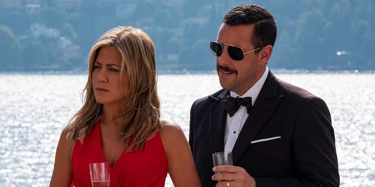 Adam Sandler and Jennifer Aniston in Murder Mystery on Netflix.