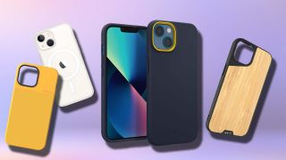 Four of the best iPhone 13 mini cases arranged on a purple background