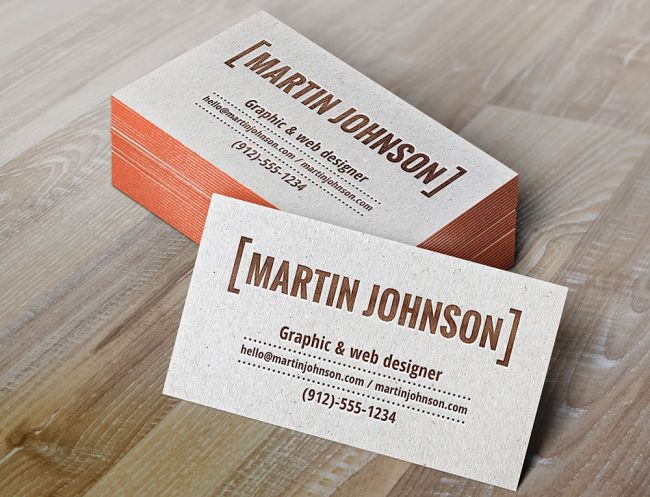 Free Business card templates: Letterpress