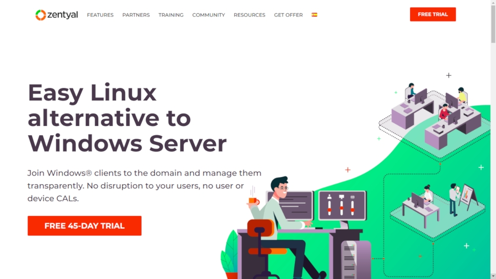 Website screenshot for Zentyal