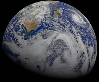 Here, a composite image of Earth snapped by the NASA/NOAA Suomi National Polar-orbiting Partnership spacecraft on April 9, 2015.