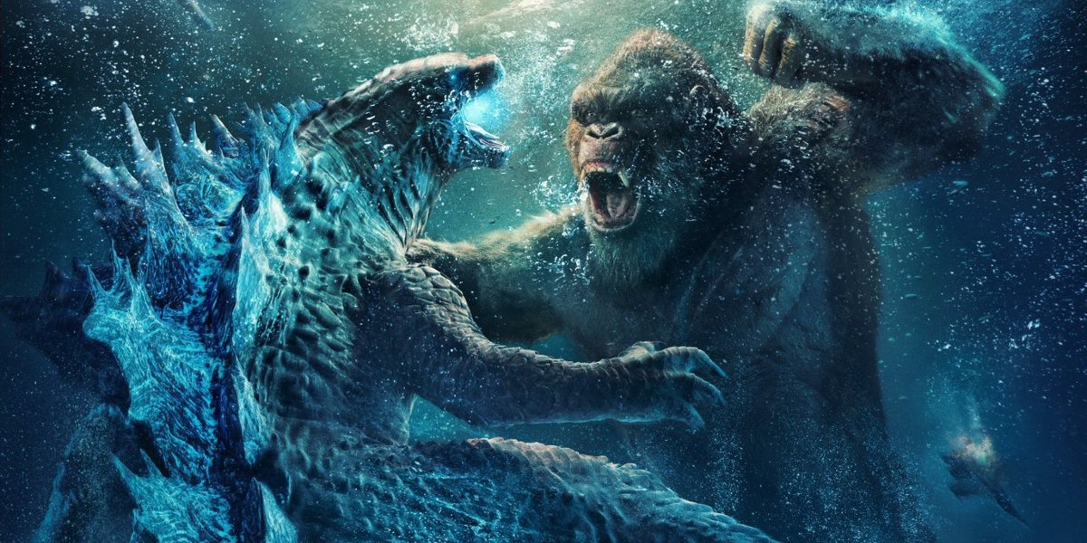 Godzilla vs. Kong fighting underwater